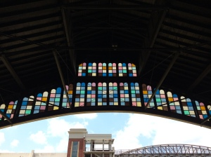 Stained glass over the train shed archway.