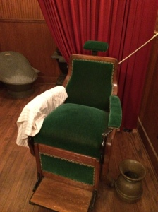 A barbershop chair. Emmett likely sat in this once and had a shave.