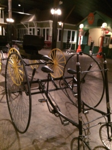 A courting bicycle. The chaperon would sit on the third seat behind the courting couple, who did all the work/pedaling.