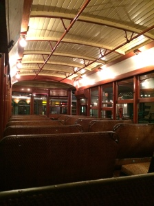 The inside of the trolley car, restored to what it would have looked like in Emmett's day.