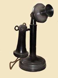 This was the standard phone in Emmett's day. No dial! No keypad! No privacy (party lines, you know.) Source: www.telephonecollecting.org