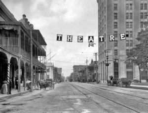 Palafox Street, 1910. Emmett worked in the tall building to the right, now known as Seville Tower, on the 7th floor. Source: Shorpy.com