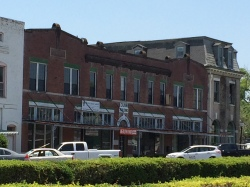 A view of the Dunn Building, dating frm 1917, downtown Chipley. The historic bank building at the far right is in desperate need of repair.