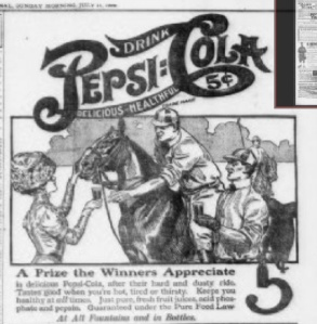 Pepsi ad from The Pensacola Journal, 1909.