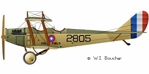 Emmett's ride was most likely in the Curtiss JN-4, also known as a Jenny. These were standard for flight training. Curtiss also had water-landing craft.