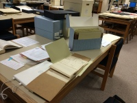 Two tables worth of research materials!