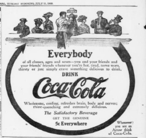 Coca-Cola, also from The Pensacola Journal, 1909.
