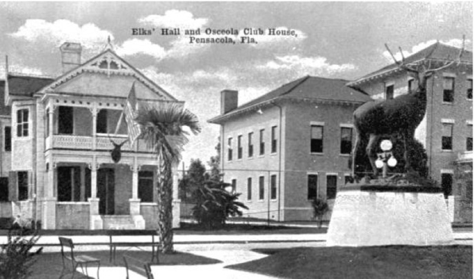 Elk's (left) and Osceola Clubs, Pensacola. Neither building survives today, although the Elk statue is elsewhere in the city. Source: State Archive of Florida.