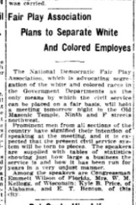 Fair Play Association Meeting. Source: The Washington Post, April 30, 1913