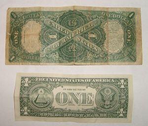 One dollar bill, reverse, from 1917. Source: www.treasurenet.com