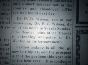 Article on Percy Wilson's death, March 1918, The Chipley Banner.
