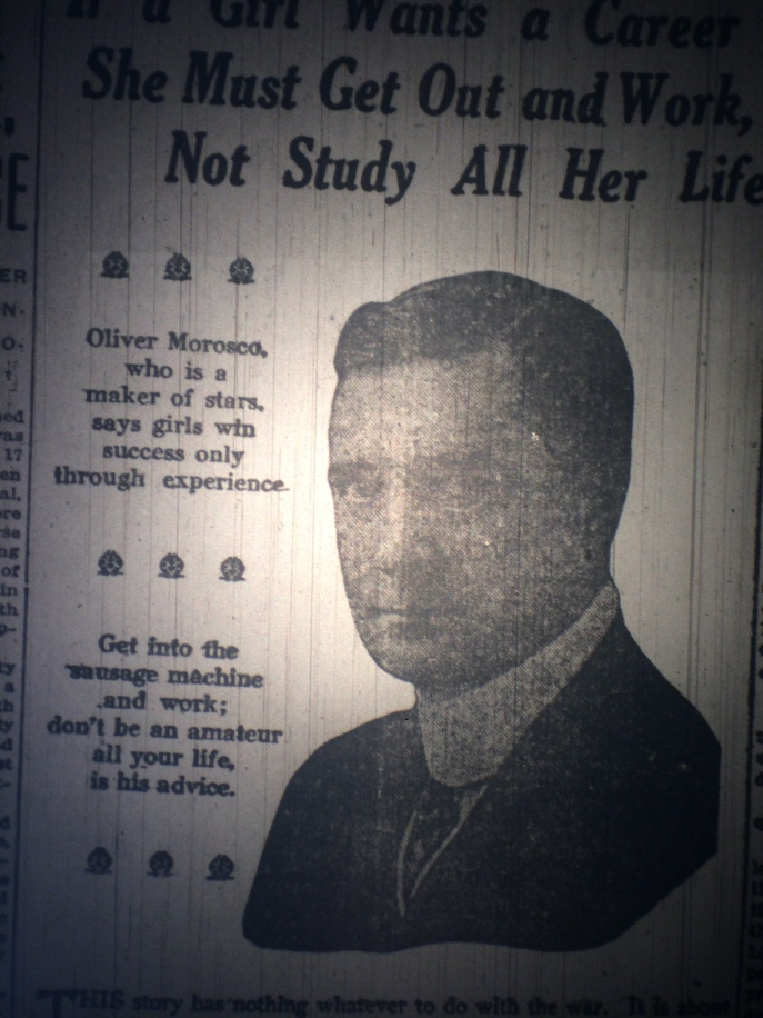 """Get into the sausage machine and work."" That's his career advice for girls? And what, pray tell, did he mean by the 'sausage machine?' Source: The Pensacola Journal, 1917."