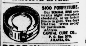 Notice that this features a 10-day free trial! Did the Capital Cure Co. of Atlanta, Georgia, have many returns?  Source: The Chipley Banner, 1898.