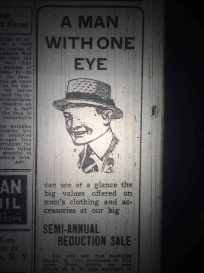 Shaming those with normal vision into the stores. Yeah. Great marketing ploy. Source: The Pensacola Journal, 1917.