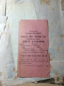 A receipt from the old Valley Department Store from downtown Vicksburg. What was it that my great grandmother purchased that she put this in the Bible?