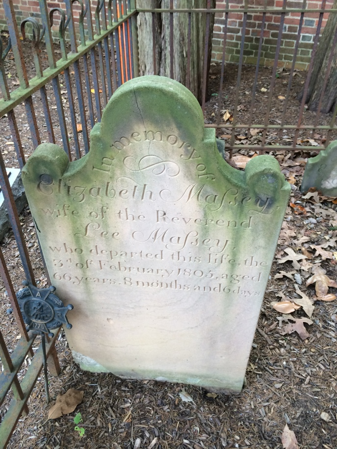 Elizabeth Massey, age 66, died in 1805.