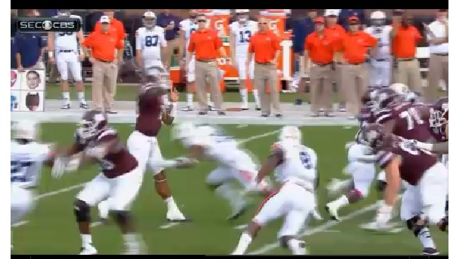 Prescott takes a hit in the groin and still makes the touchdown pass. Hail State!