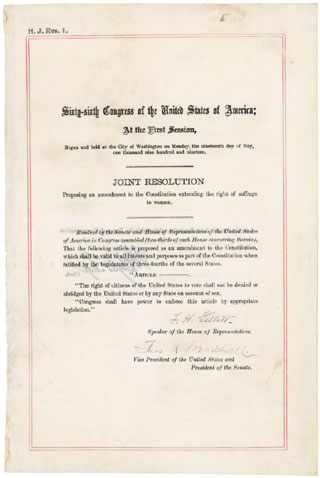 The 19th Amendment. Image Source: The National Archives (www.archives.gov)