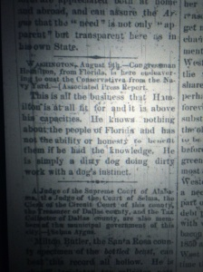 Refreshing honesty of old-school journalism. Source: The West Florida Commercial, July, 1869.