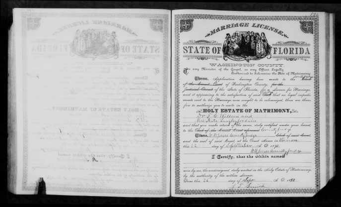 "Marriage License of Dr. Frank Wilson and Kate Langley Jordan. Source:  Florida, Marriages, 1830-1993,"" index and images, FamilySearch (https://familysearch.org/pal:/MM9.1.1/23C7-JXH : accessed 03 Nov 2014), F C Wilson and Kate Langley Jordain, 22 Sep 1893; citing Washington, Florida, United States, p. Washington, Florida, United States; FHL microfilm 000931851"