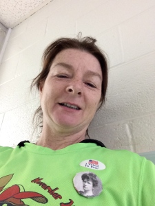 That's Minnie on my shirt. Excuse the rough look. I ran before I hit the voting booth.