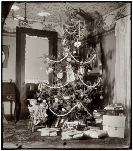 The Christmas tree at Orville & Wilbur Wright's family home, 1900. My first reaction was pity for the fool who had to hang wallpaper on the ceiling. Source: http://www.shorpy.com/node/2119