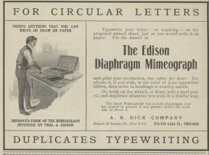 Mimeograph ad from 1900. Source: oldadstore.ecrater.com