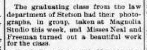 Magnolia Studios was run by Miss Emma Neal -- a woman-run business in what was then a cutting-edge profession. Source: Stetson University Archives