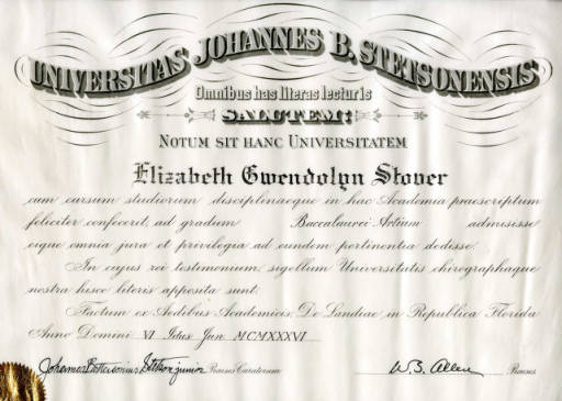 A 1936 Bachelor of Arts diploma from Stetson University -- in LATIN! Typical college diploma? Source: http://digital.archives.stetson.edu/cdm/ref/collection/Memorabilia/id/254
