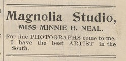 Minnie Neal was the photographer of Emmett's law school graduating class. Ad from the 1905 Stetson Weekly Collegiate, February 15, 1905.