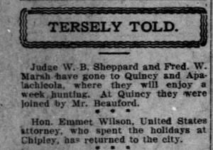Edwardian-era tweeting. Emmett plays at the celeberati game. Source: Pensacola Journal, Dec 29, 1907
