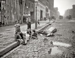 A shot from real life in 1905. Not exactly pretty. Image source: http://www.shorpy.com/node/7521