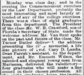 Writeup of Emmett's graduation ceremony from The Volusia County Record, May 28, 1904, page 3. Note: There was a report on the past and future of the Class of 1904. Where is that document?