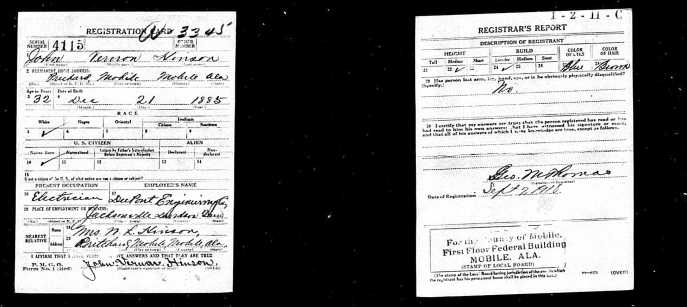 John Vernon Hinson, WWI draft cards. Source: Ancestry.com