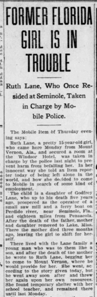 The headline got my attention. Source: The Pensacola Journal, January 1907.