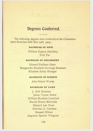 Eight students in Emmett's graduating class. Source: Stetson University Archives.