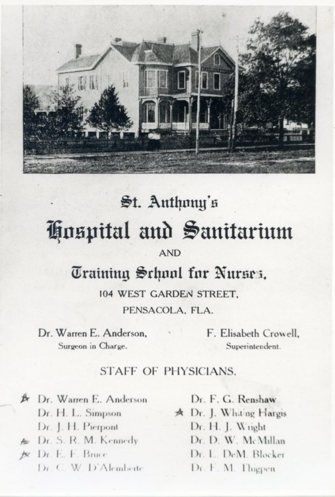 Promo piece for Pensacola Sanitarium, which also went by St. Anthony's Hospital and Sanitarium. Source: Pensacola Historical Society.