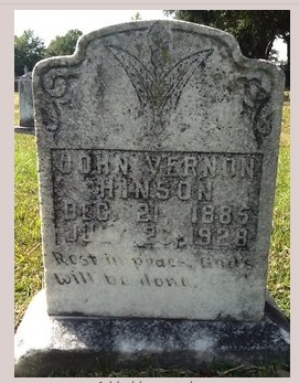 John Vernon Hinson. Death by accident? Image Source: find-a-grave.com