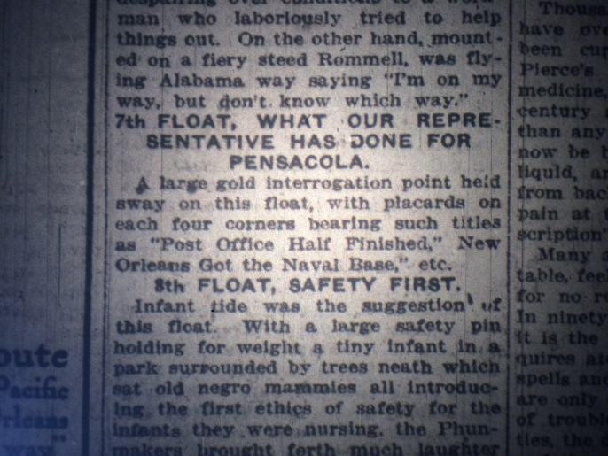 The big question: Is there a photo of this float out there somewhere? Source: The Pensacola Journal, 1915