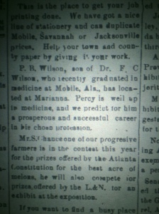 A piece of the puzzle falls into place. Source: The Chipley Banner, 1895.