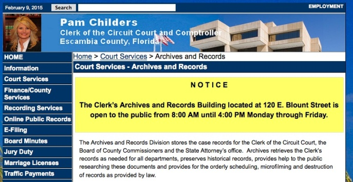 Hooray! The Escambia Courthouse Archives has reopened!