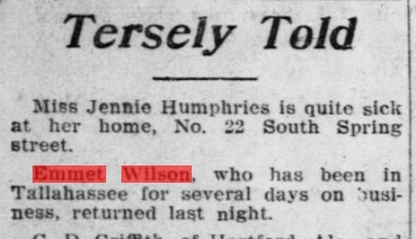 Notice that his name is misspelled -- not quite 'famous' enough at this point. Source: The Pensacola Journal, October, 1907.
