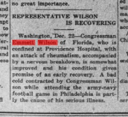 Rheumatism. Really? Source: Ocala Banner, Dec 22, 1914.