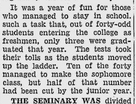 A feature from 1951 about the difficult entrance exams at WFS. Source: Florida Flambeau.