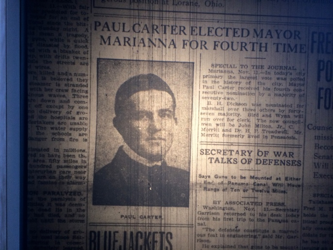 Mayor Paul Carter of Marianna, Florida. Source: The Pensacola Journal, 1912.