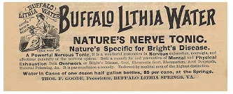 Lithia water was touted as a 'cure' for 'rheumatism.' Literature from the spa Emmett visited 1914 also claimed to 'cure' alcoholism with their healing waters. Image source: MyFWBS