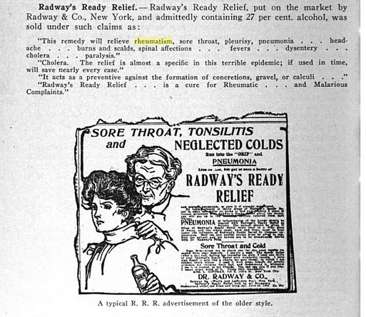 In this example, Radway's was 27 percent alcohol. Source: Nostrums & Quackery, JAMA, Google Ebook, 1921.