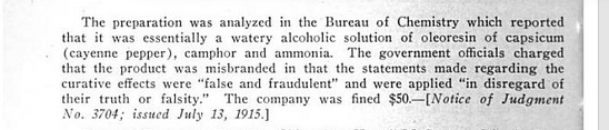 The government fined Radway's for false and fraudulent claims. Source: Nostrums & Quackery, JAMA, Google Ebook, 1921