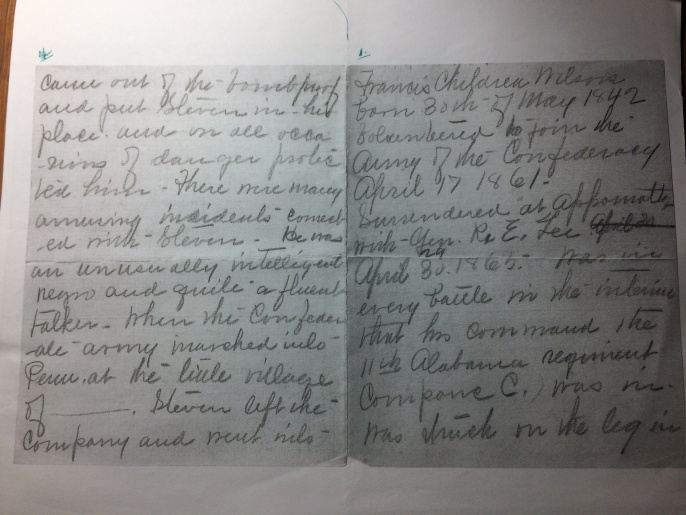 Transcript of the speech by Dr. Wilson about his Civil War experiences. The speech was transcribed by his wife, Kate Jordan Wilson, Emmett's stepmother. This is Kate Jordan Wilson's handwriting.