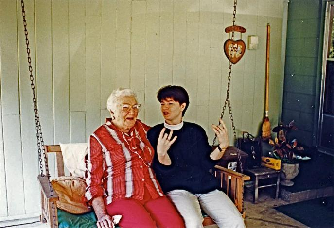 Me with my grandmother about 15 years ago. I was telling her this really dirty joke, and she was laughing so hard the swing started to crack. She died not long after this photo was taken. I miss her terribly.